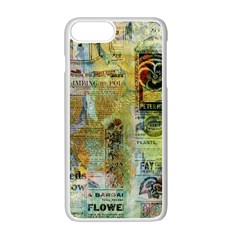 Old Newspaper And Gold Acryl Painting Collage Apple Iphone 7 Plus White Seamless Case