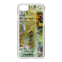 Old Newspaper And Gold Acryl Painting Collage Apple Iphone 7 Seamless Case (white)