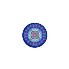 Power Flower Mandala   Blue Cyan Violet 1  Mini Magnets