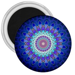Power Flower Mandala   Blue Cyan Violet 3  Magnets