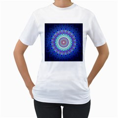 Power Flower Mandala   Blue Cyan Violet Women s T-Shirt (White) (Two Sided)