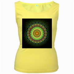 Power Flower Mandala   Blue Cyan Violet Women s Yellow Tank Top