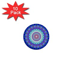 Power Flower Mandala   Blue Cyan Violet 1  Mini Buttons (10 pack)
