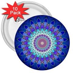 Power Flower Mandala   Blue Cyan Violet 3  Buttons (10 pack)