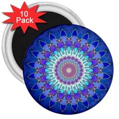 Power Flower Mandala   Blue Cyan Violet 3  Magnets (10 pack)