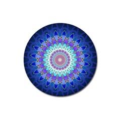 Power Flower Mandala   Blue Cyan Violet Magnet 3  (Round)