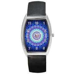 Power Flower Mandala   Blue Cyan Violet Barrel Style Metal Watch
