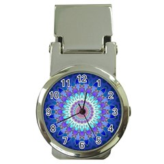 Power Flower Mandala   Blue Cyan Violet Money Clip Watches