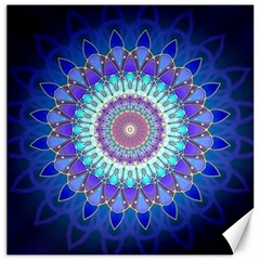 Power Flower Mandala   Blue Cyan Violet Canvas 16  x 16