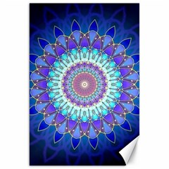 Power Flower Mandala   Blue Cyan Violet Canvas 20  x 30