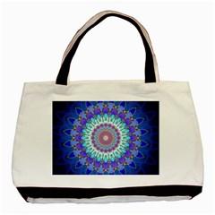 Power Flower Mandala   Blue Cyan Violet Basic Tote Bag (Two Sides)