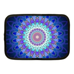 Power Flower Mandala   Blue Cyan Violet Netbook Case (Medium)