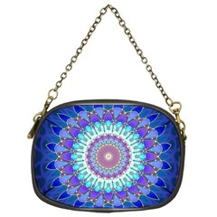 Power Flower Mandala   Blue Cyan Violet Chain Purses (One Side)