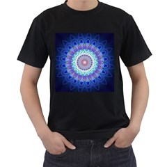 Power Flower Mandala   Blue Cyan Violet Men s T-Shirt (Black)