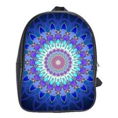 Power Flower Mandala   Blue Cyan Violet School Bags(Large)