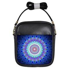 Power Flower Mandala   Blue Cyan Violet Girls Sling Bags