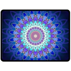 Power Flower Mandala   Blue Cyan Violet Fleece Blanket (Large)