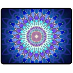 Power Flower Mandala   Blue Cyan Violet Fleece Blanket (Medium)
