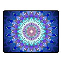 Power Flower Mandala   Blue Cyan Violet Fleece Blanket (Small)