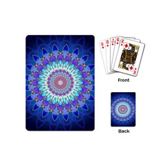 Power Flower Mandala   Blue Cyan Violet Playing Cards (Mini)