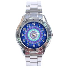 Power Flower Mandala   Blue Cyan Violet Stainless Steel Analogue Watch