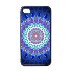 Power Flower Mandala   Blue Cyan Violet Apple iPhone 4 Case (Black)