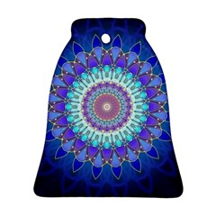 Power Flower Mandala   Blue Cyan Violet Ornament (Bell)