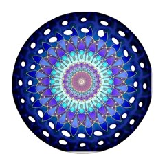 Power Flower Mandala   Blue Cyan Violet Round Filigree Ornament (Two Sides)