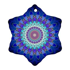Power Flower Mandala   Blue Cyan Violet Snowflake Ornament (Two Sides)