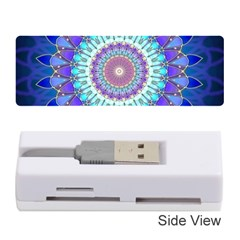 Power Flower Mandala   Blue Cyan Violet Memory Card Reader (Stick)