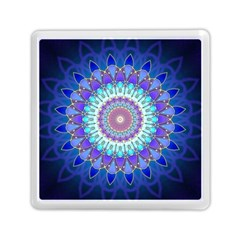 Power Flower Mandala   Blue Cyan Violet Memory Card Reader (Square)