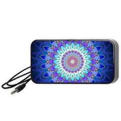 Power Flower Mandala   Blue Cyan Violet Portable Speaker (Black)