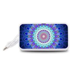 Power Flower Mandala   Blue Cyan Violet Portable Speaker (White)