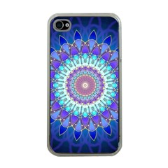 Power Flower Mandala   Blue Cyan Violet Apple iPhone 4 Case (Clear)