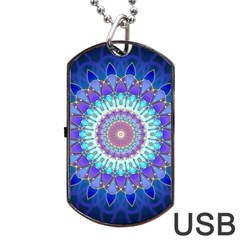 Power Flower Mandala   Blue Cyan Violet Dog Tag USB Flash (Two Sides)
