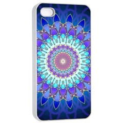 Power Flower Mandala   Blue Cyan Violet Apple iPhone 4/4s Seamless Case (White)