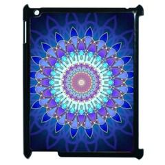 Power Flower Mandala   Blue Cyan Violet Apple iPad 2 Case (Black)