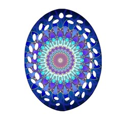 Power Flower Mandala   Blue Cyan Violet Oval Filigree Ornament (Two Sides)