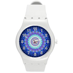Power Flower Mandala   Blue Cyan Violet Round Plastic Sport Watch (M)