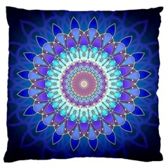 Power Flower Mandala   Blue Cyan Violet Large Cushion Case (Two Sides)