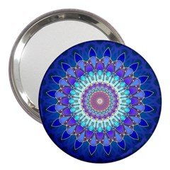 Power Flower Mandala   Blue Cyan Violet 3  Handbag Mirrors