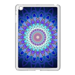 Power Flower Mandala   Blue Cyan Violet Apple iPad Mini Case (White)