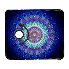 Power Flower Mandala   Blue Cyan Violet Galaxy S3 (Flip/Folio)