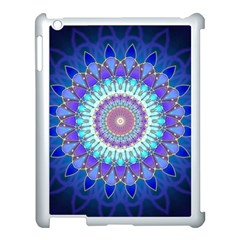 Power Flower Mandala   Blue Cyan Violet Apple iPad 3/4 Case (White)