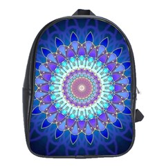 Power Flower Mandala   Blue Cyan Violet School Bags (XL)