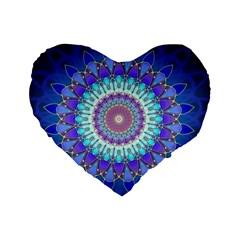 Power Flower Mandala   Blue Cyan Violet Standard 16  Premium Heart Shape Cushions