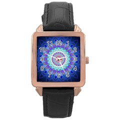 Power Flower Mandala   Blue Cyan Violet Rose Gold Leather Watch
