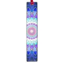 Power Flower Mandala   Blue Cyan Violet Large Book Marks