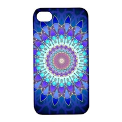 Power Flower Mandala   Blue Cyan Violet Apple iPhone 4/4S Hardshell Case with Stand
