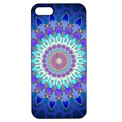 Power Flower Mandala   Blue Cyan Violet Apple iPhone 5 Hardshell Case with Stand